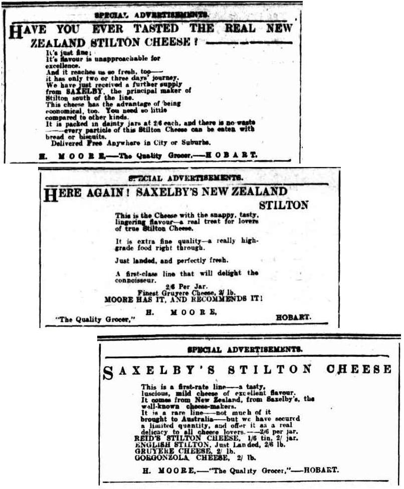 Ads printed in the The Mecury, Hobart in 1911.